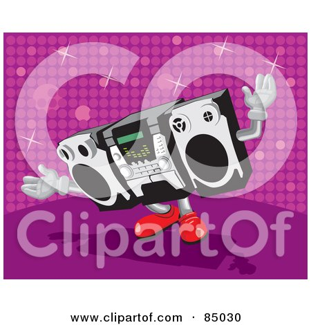 Royalty-Free (RF) Clipart Illustration of a Dancing Radio With Red Shoes, Over A Pink Sparkly Background by David Rey