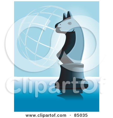 Royalty-Free (RF) Clipart Illustration of a Chess Knight Piece On Blue With A Wire Globe by David Rey