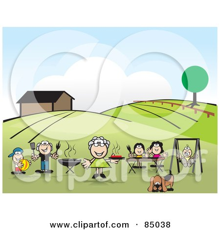 Royalty-Free (RF) Clipart Illustration of a Happy Family Swinging And Barbecuing In Their Yard by David Rey