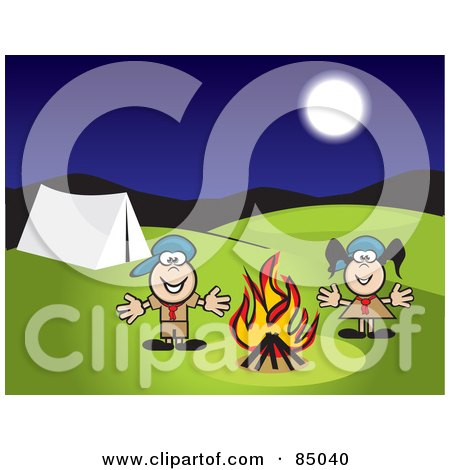 Boy And Girl Scout Standing By A Campfire At Night Posters, Art Prints