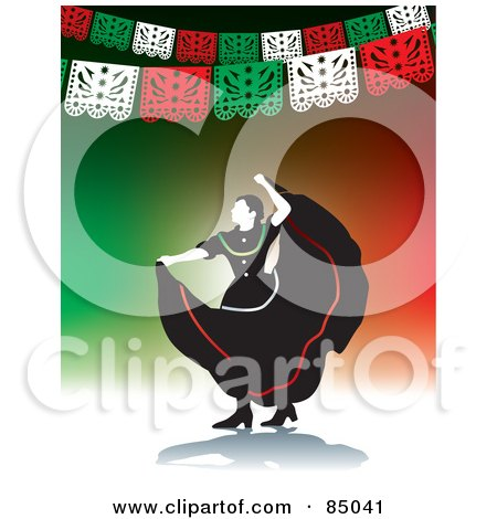 Graceful Mexican Folk Dancer Under Banners On Green And Red Posters, Art Prints