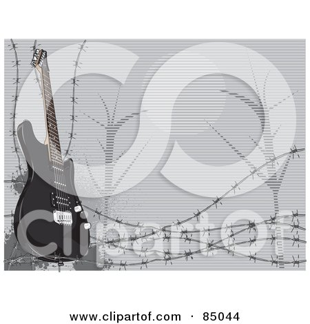 Royalty-Free (RF) Clipart Illustration of a Black Electric Guitar With Barbed Wire And A Night Scene by David Rey