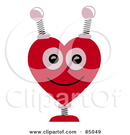 Royalty-Free (RF) Clipart Illustration of a Springy Heart Shaped Robotic Head by mheld