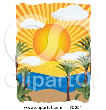 Royalty-Free (RF) Clipart Illustration of a Sun Shining Over A Tropical Beach And Ocean by mheld