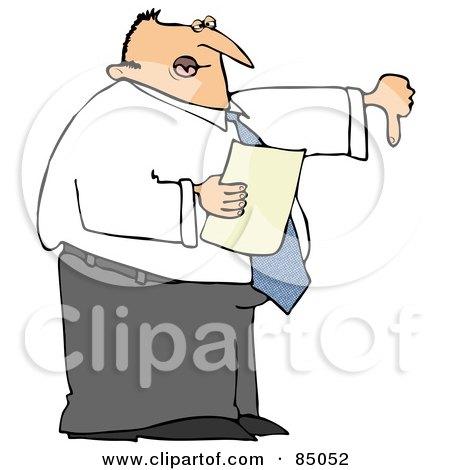 Royalty-Free (RF) Clipart Illustration of a Disappointed Male Boss Holding A Piece Of Paper And Holding His Thumb Down by djart