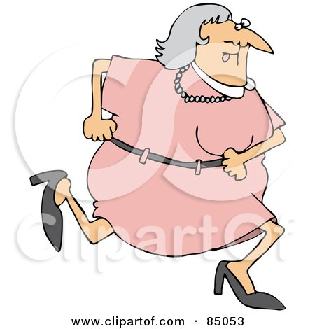 Royalty-Free (RF) Clipart Illustration of a Granny Running In A Pink Dress by djart