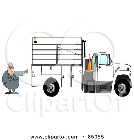 Royalty-Free (RF) Clipart Illustration of a Distracted Man Texting On His Cell Phone While Directing A Utility Truck To Back Up by djart