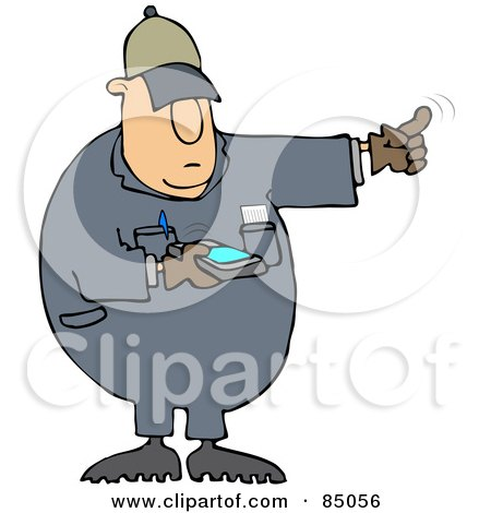 Royalty-Free (RF) Clipart Illustration of a Distracted Texting Worker Man Using His Finger To Direct A Driver While Backing Up by djart