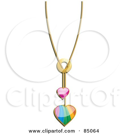 Royalty-Free (RF) Clipart Illustration of a Chain With Pink And Rainbow Heart Pendants by elaineitalia