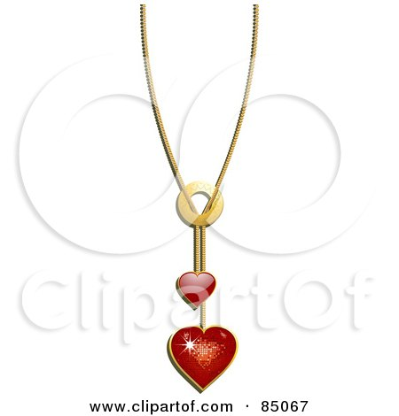 Royalty-Free (RF) Clipart Illustration of a Chain With Red Heart Pendants by elaineitalia