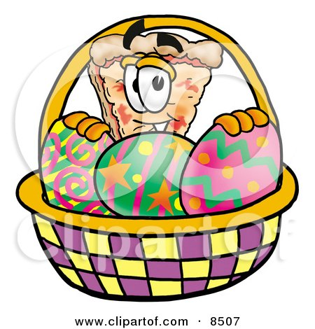 Clipart Picture of a Slice of Pizza Mascot Cartoon Character in an Easter Basket Full of Decorated Easter Eggs by Toons4Biz