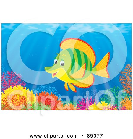 Royalty-Free (RF) Clipart Illustration of a Green And Orange Marine Fish At A Colorful Coral Reef by Alex Bannykh