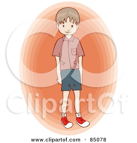 Royalty-Free (RF) Clipart Illustration of a Little Brunette Boy Standing Over An Orange Oval by Bad Apples
