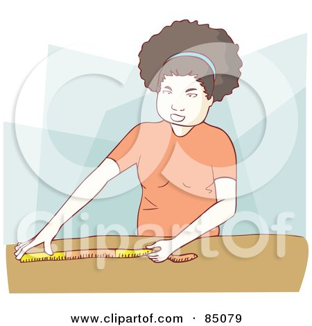 Royalty-Free (RF) Clipart Illustration of a Little Girl Using A Measuring Tape On A Table by Bad Apples