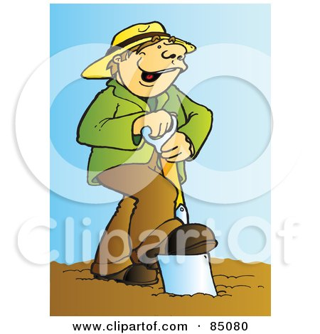 Happy Farmer Singing And Using A Spade In A Garden Posters, Art Prints