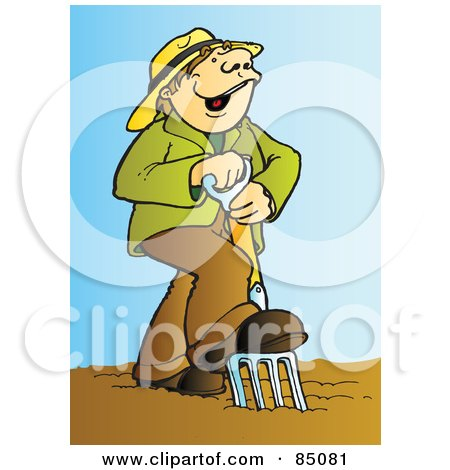 Royalty-Free (RF) Clipart Illustration of a Happy Farmer Singing And Using A Pitchfork In A Garden by Snowy