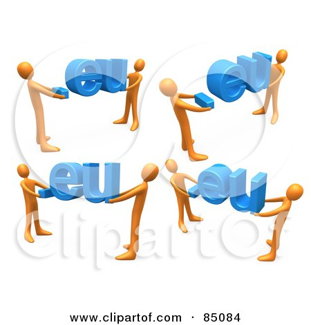 Royalty-Free (RF) Clipart Illustration of a Digital Collage Of 3d Orange People Carrying Dot Eu Domain Extensions, On A White Background by 3poD