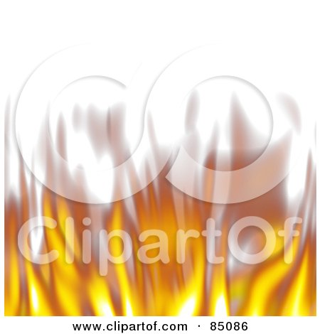 Royalty-Free (RF) Clipart Illustration of a Lower Border Of Blurry Flickering Flames On White by Arena Creative