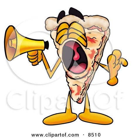Clipart Picture of a Slice of Pizza Mascot Cartoon Character Screaming Into a Megaphone by Toons4Biz