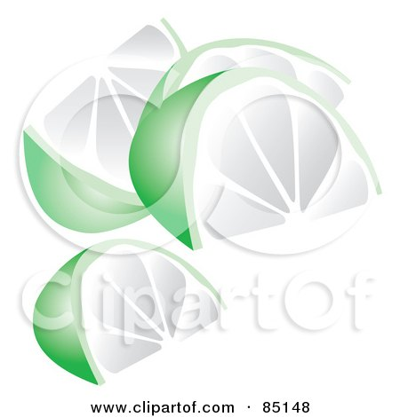 Royalty-Free (RF) Clipart Illustration of Four Lime Wedges by Arena Creative