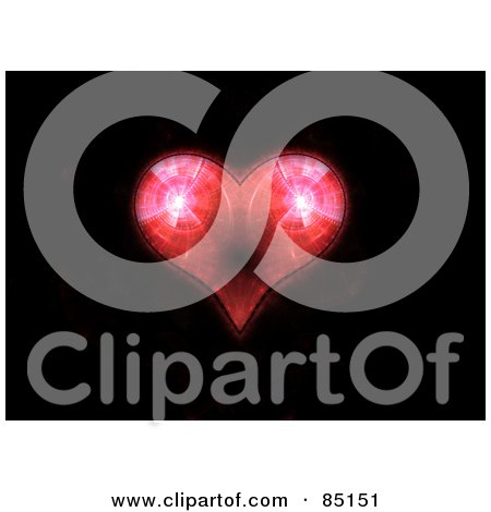 Royalty-Free (RF) Clipart Illustration of a Red Fractal Heart Over Black by Arena Creative