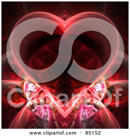 Royalty-Free (RF) Clipart Illustration of a Red Heart Fractal Over Black by Arena Creative