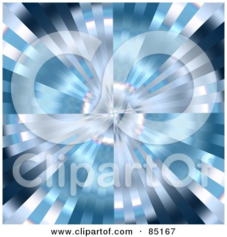 Royalty-Free (RF) Clipart Illustration of a Blue And Silver Metallic Zoom Background by Arena Creative