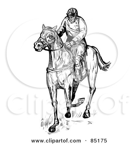 Royalty-Free (RF) Clipart Illustration of a Black And White Sketched Jockey On A Race Horse by patrimonio