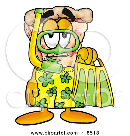 Clipart Picture of a Slice of Pizza Mascot Cartoon Character in Green and Yellow Snorkel Gear by Toons4Biz