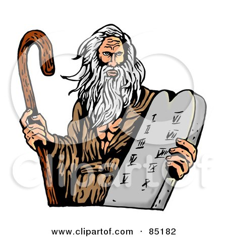 Royalty-Free (RF) Clipart Illustration of Moses Carrying A Cane And The Ten Commandments On A Tablet by patrimonio
