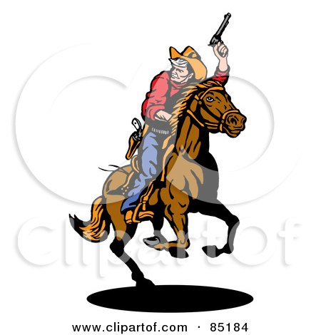 Royalty-Free (RF) Clipart Illustration of a Cowboy Holding Up His Pistil And Looking Back While On Horseback by patrimonio