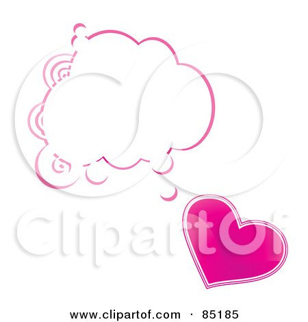 Royalty-Free (RF) Clipart Picture of a Shiny Pink Heart With A Blank Word Balloon by MilsiArt
