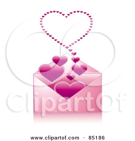 Royalty-Free (RF) Clipart Picture of a Pink Envelope With Hearts Floating Out Of It by MilsiArt