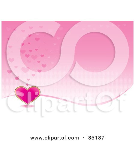 Royalty-Free (RF) Clipart Picture of a Lined Pink Background With A White Wave And Pink Hearts by MilsiArt