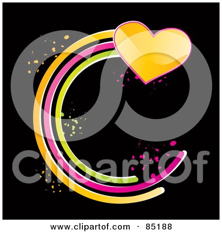 Royalty-Free (RF) Clipart Picture of a Shiny Yellow Heart With A Circular Green, Pink And Orange Trail  by MilsiArt
