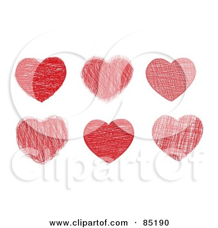 Royalty-Free (RF) Clipart Picture of a Digital Collage Of Six Doodled Red Hearts by MilsiArt