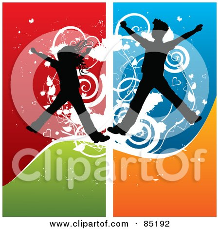 Royalty-Free (RF) Clipart Picture of Boy And Girl Silhouettes Jumping Over A Grungy Colorful Background by MilsiArt