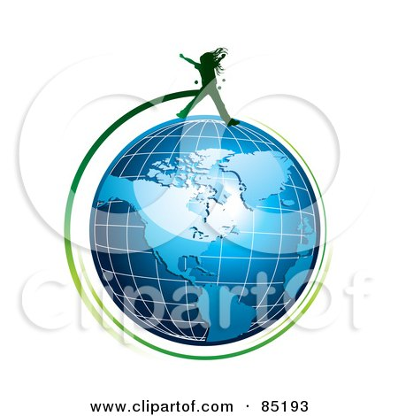Royalty-Free (RF) Clipart Picture of a Green Girl Silhouette Jumping Over A Blue Grid Globe by MilsiArt