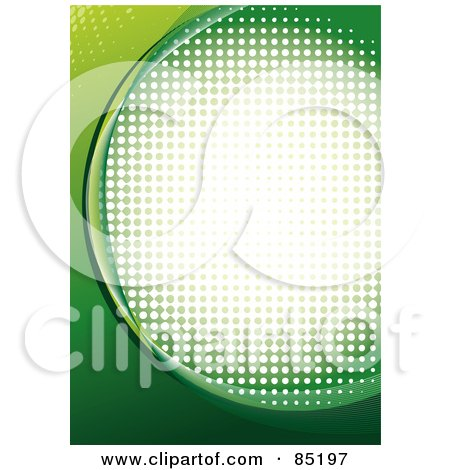 Royalty-Free (RF) Clipart Picture of a Green Curve Background With Halftone Dots Over White by MilsiArt