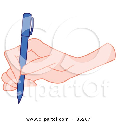 Royalty-Free (RF) Clipart Illustration of a Hand Writing With A Blue Pen by yayayoyo
