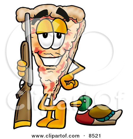 Clipart Picture of a Slice of Pizza Mascot Cartoon Character Duck Hunting, Standing With a Rifle and Duck by Toons4Biz