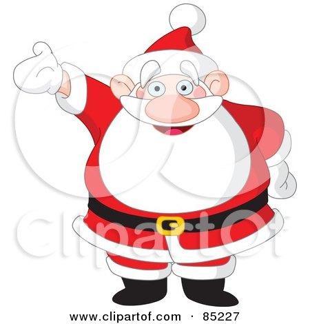 Royalty-Free (RF) Clipart Illustration of a Happy Santa Holding One Arm Up by yayayoyo