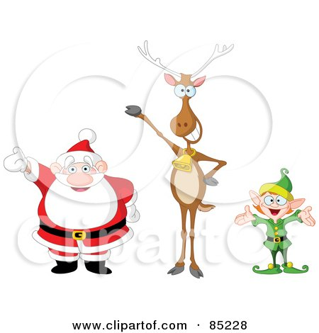 Royalty-Free (RF) Clipart Illustration of a Digital Collage Of A Happy Santa, Reindeer And Elf by yayayoyo