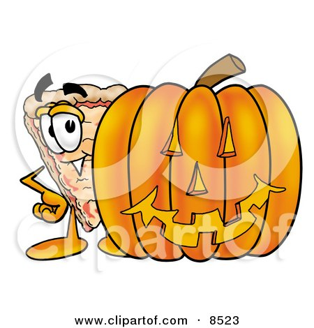 Clipart Picture of a Slice of Pizza Mascot Cartoon Character With a Carved Halloween Pumpkin by Toons4Biz