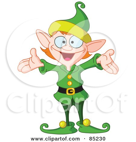 Royalty-Free (RF) Clipart Illustration of an Energetic Christmas Elf In A Green Uniform, Holding His Arms Out by yayayoyo