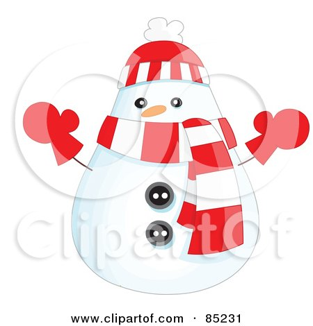 Royalty-Free (RF) Clipart Illustration of a Rounded Christmas Snowman Wearing A Hat, Scarf And Mittens by yayayoyo