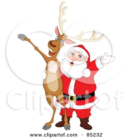 Royalty-Free (RF) Clipart Illustration of a Reindeer And Santa Singing And Holding Their Arms Out by yayayoyo