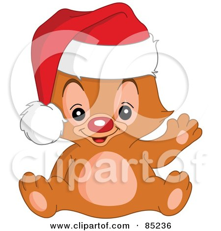 Royalty-Free (RF) Clipart Illustration of a Red Nosed Christmas Teddy Bear Waving And Wearing A Santa Hat by yayayoyo