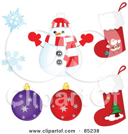 Royalty-Free (RF) Clipart Illustration of a Digital Collage Of A Rounded Christmas Snowman, Snowflakes, Ornaments And Stockings by yayayoyo
