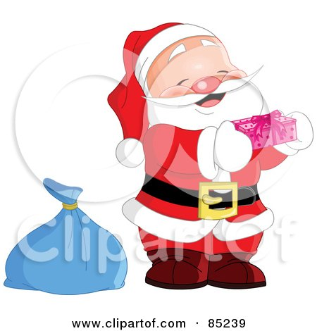 Royalty-Free (RF) Clipart Illustration of a Cute Jolly Santa Holding A Pink Gift by yayayoyo